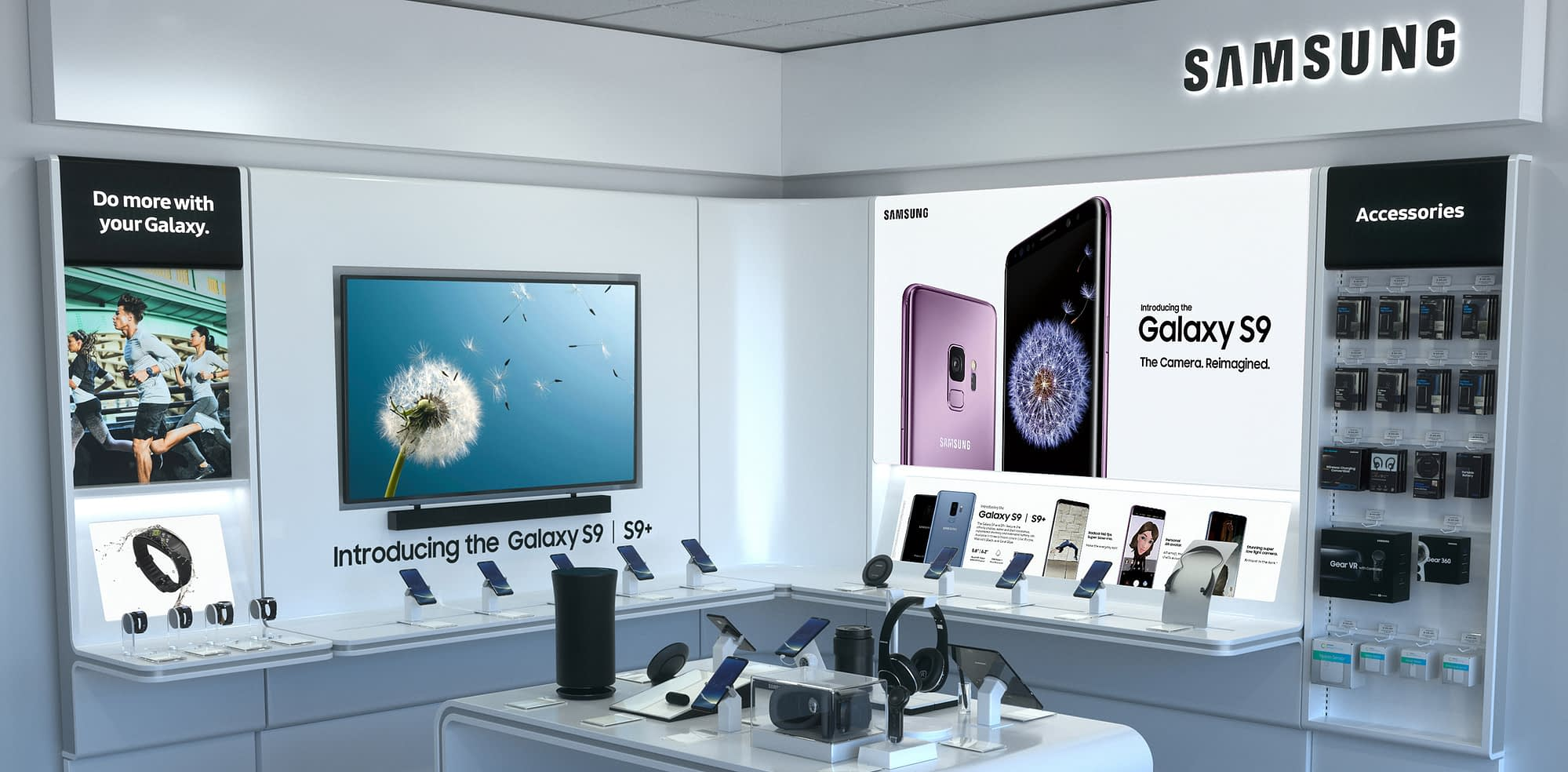 samsung in-store retail 3d rendering